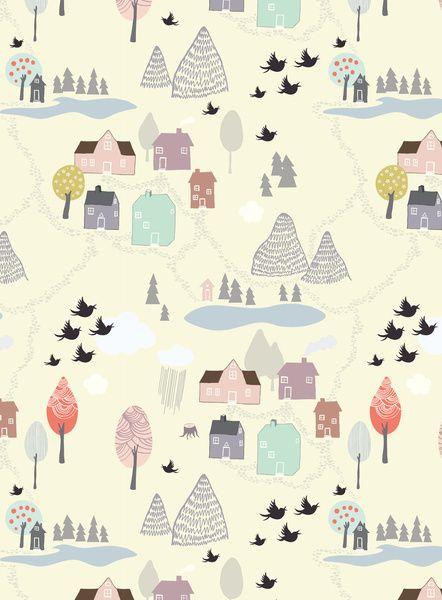 'Den lilla Staden' Art Print by Viola Brun Designs.