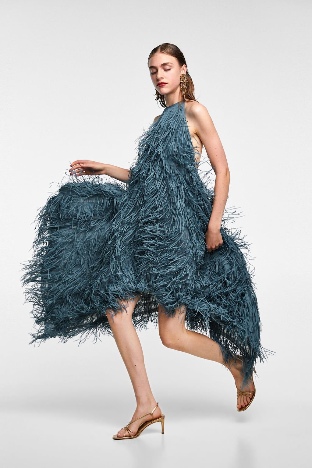 Zara Halter Dress with Fringe CHARCOAL GRAY   9/9