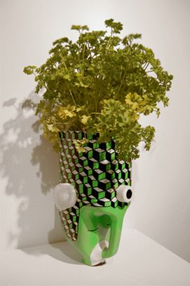 flower pot made out of juice bottle