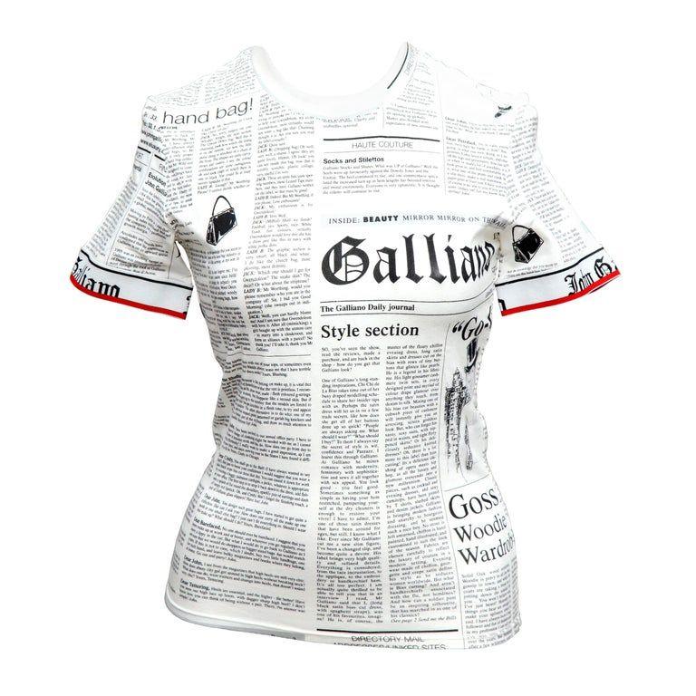 1stdibs John Galliano Newspaper T Shirt Multiple In 2020 Shirt Designs John Galliano Shirts