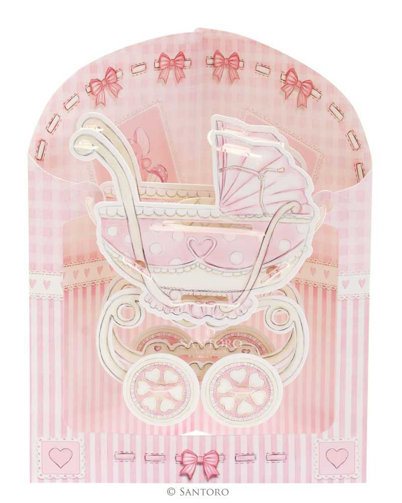 gbp baby girl birthday cardborn christening baby shower pink