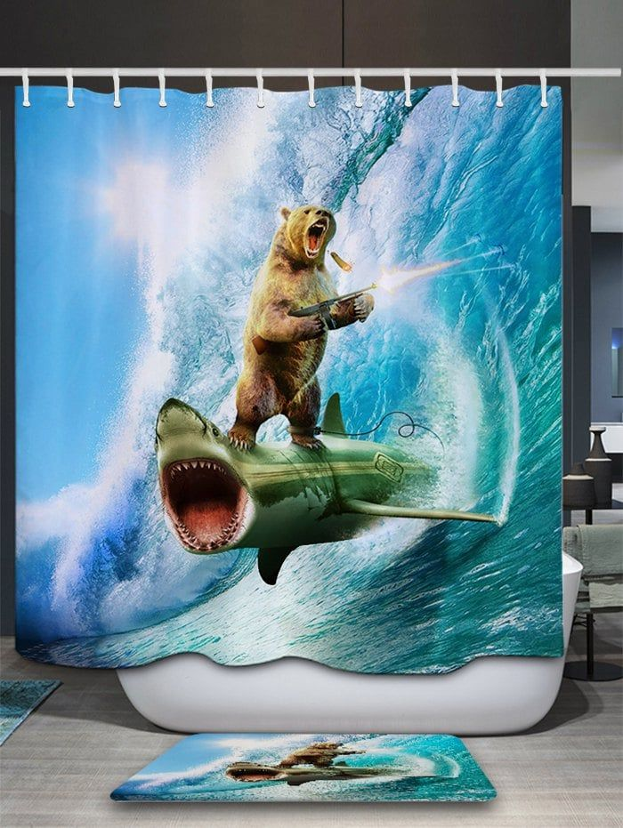 3D Shark Bear Firing Shower Curtain