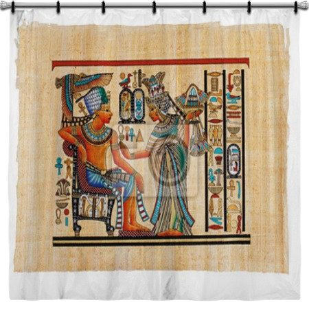 Parchmant Painting Egyptian Shower Curtain By Vividhomedecor