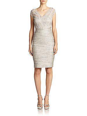 d2c42418027 Kay Unger Mixed-Media Sheath Dress - Grey - Size 14