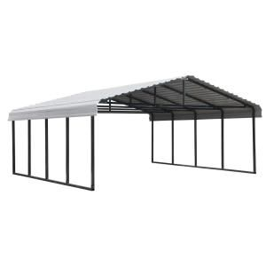 Arrow 12 Ft W X 20 Ft D Eggshell Galvanized Steel Carport Car Canopy And Shelter Cph122007 The Home Depot In 2020 Steel Carports Carport Galvanized Steel