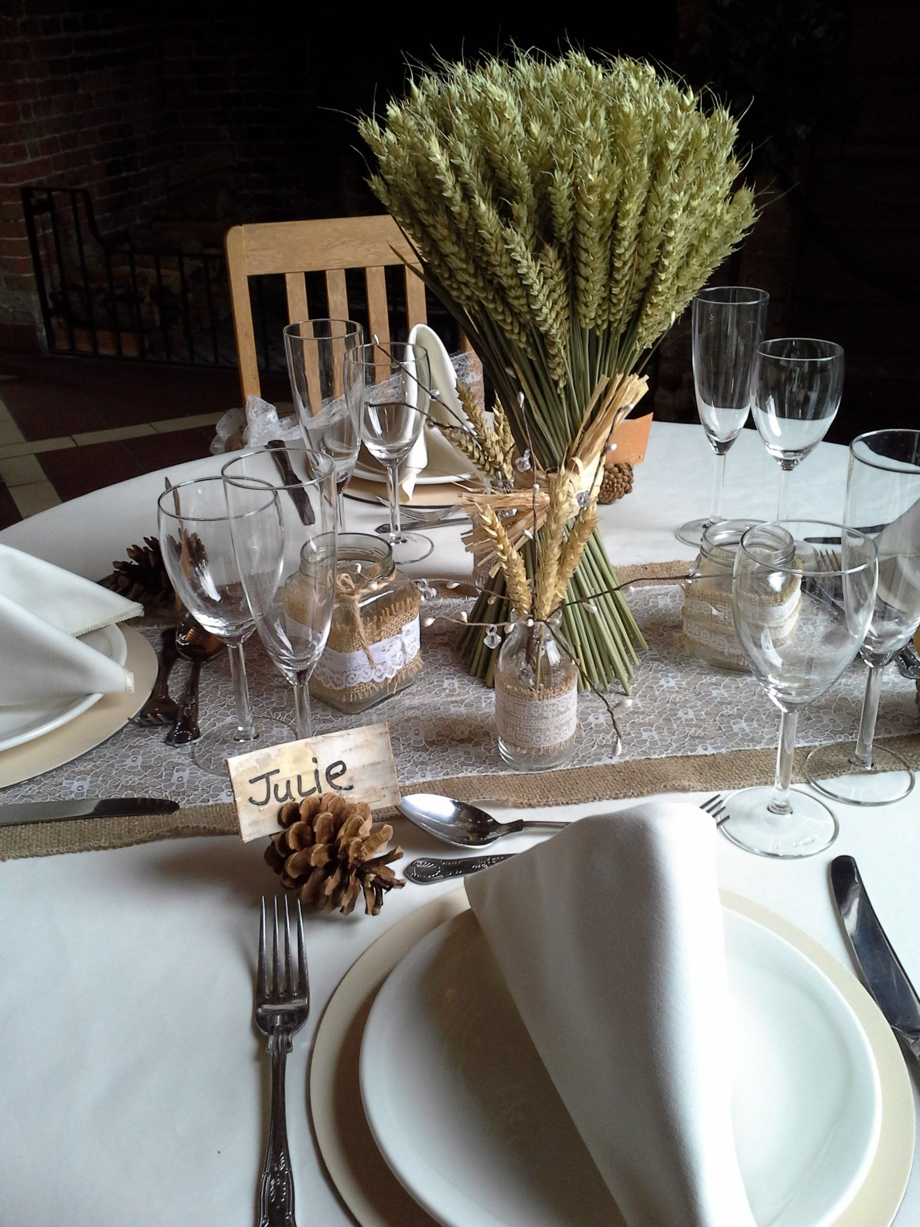 Simple Rustic Wedding Breakfast Table Wwwelshamhalleventscouk