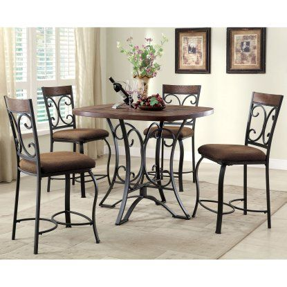 Acme Furniture Hakesa 5 Piece Round Counter Height Dining Table Cool Acme Dining Room Set Decorating Design