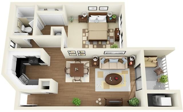 Contemporary 1 Bedroom Small Desain Apartemen Tata Letak Rumah Rumah Modern