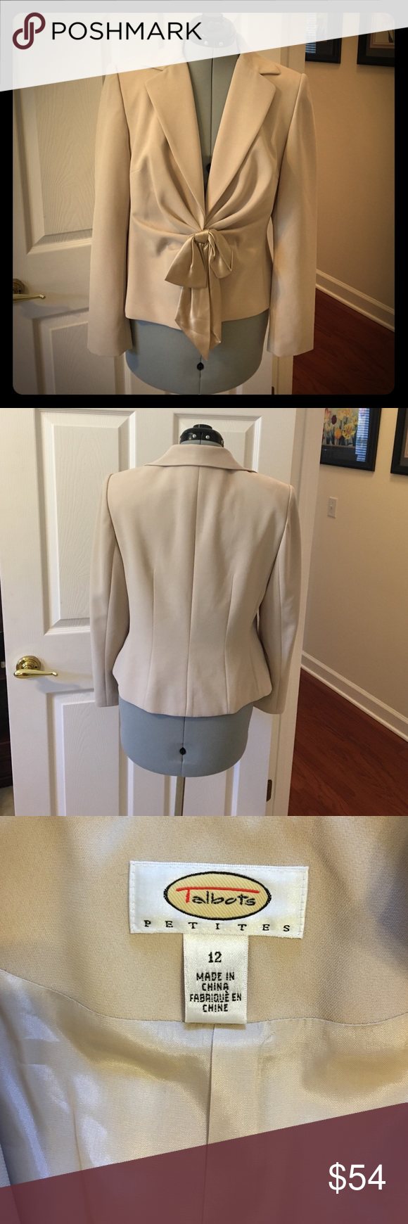 Talbots formal jacket Cream colored Talbots formal jacket. Silk bow snap in front, long sleeve, lined and good condition. Size 12 Talbots Jackets & Coats