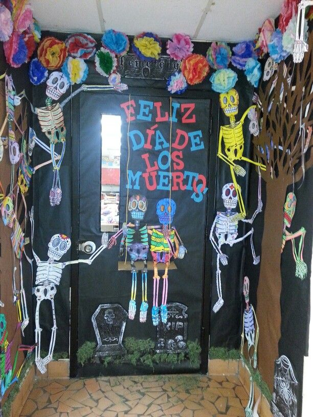 spanish classroom door. day of the dead classroom door spanish