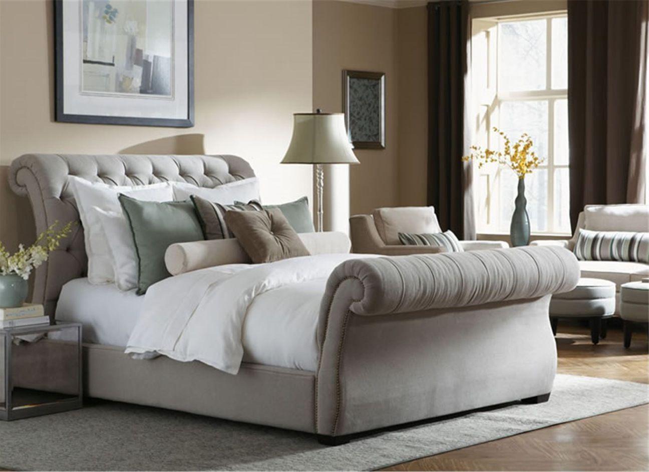 Velvet Ottoman Sleigh Bed Sleigh Bed Master Bedroom