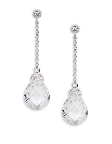 Nadri Linear Faceted Crystal Teardrop Earrings Women's Silver