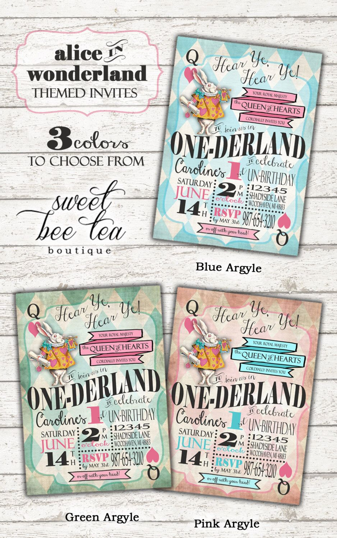 Boys Girls Alice in Wonderland First Birthday Invitation ...