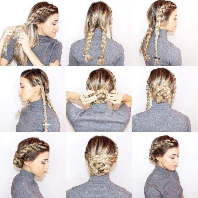 55 Easy Updos To Look Effortlessly Chic Braided Bun Hairstyles Medium Hair Styles Long Hair Styles