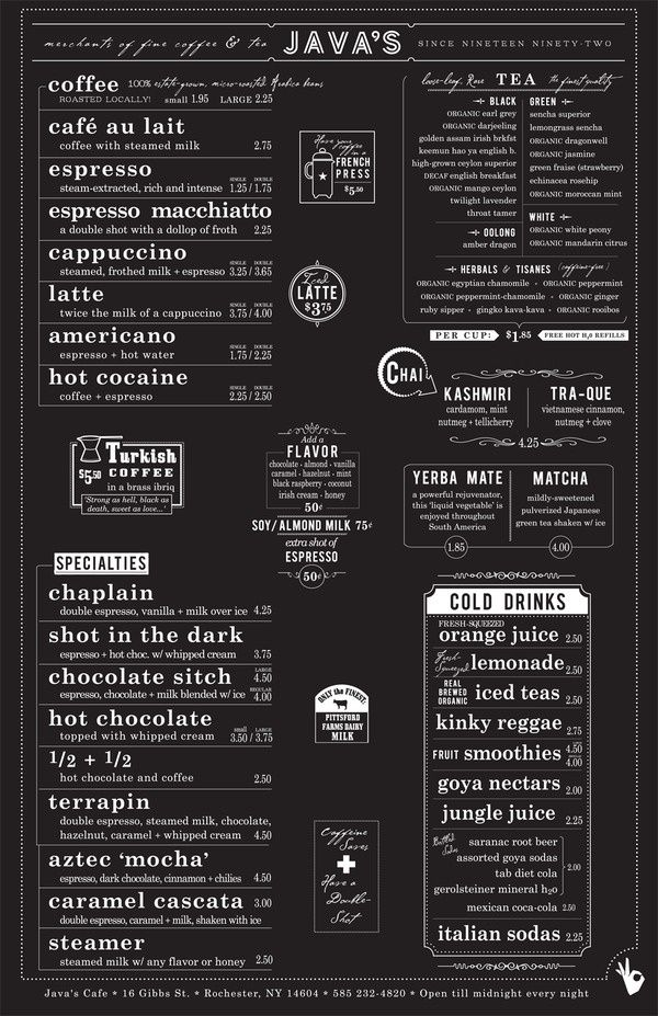 Designspiration  Dream Business    Menu Cafes And Coffee