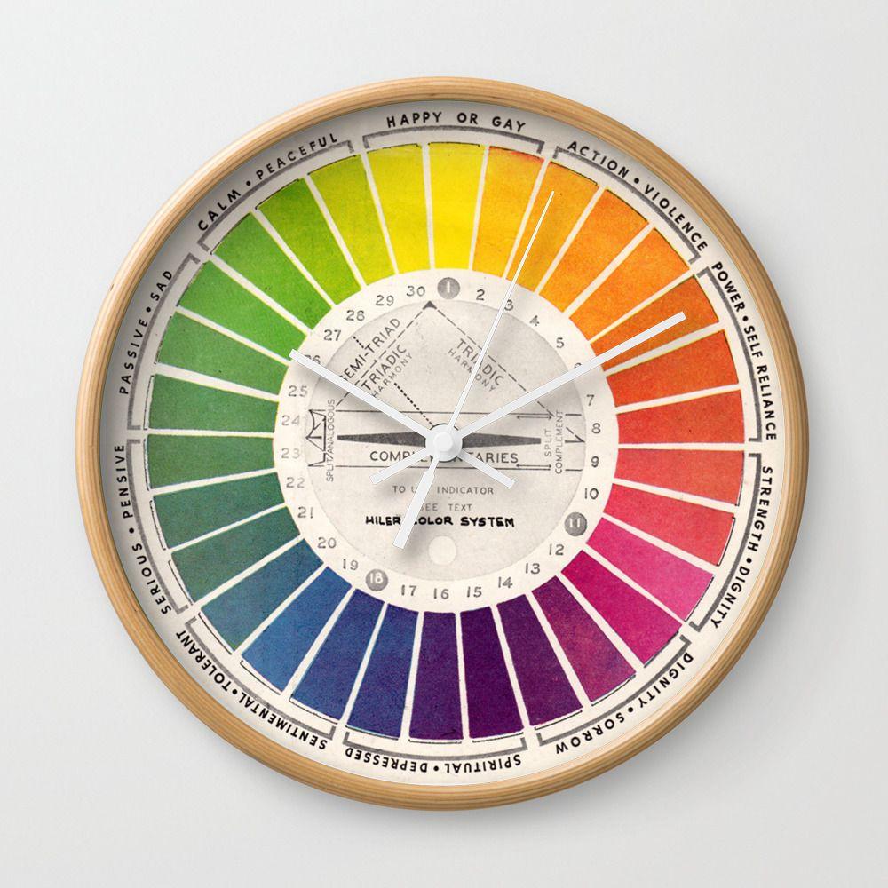 Vintage Color Wheel Art Teaching Tool Rainbow Mood Chart Wall Clock By Kristiefish Color Wheel Art Color Wheel Wheel Art