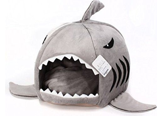 Grey Shark Bed For Small Cat Dog Cave Bed Removable Cushion Waterproof Bottom Most Lovely Pet House Gift For Pet Puppy Beds Dog Cave Dog Bed