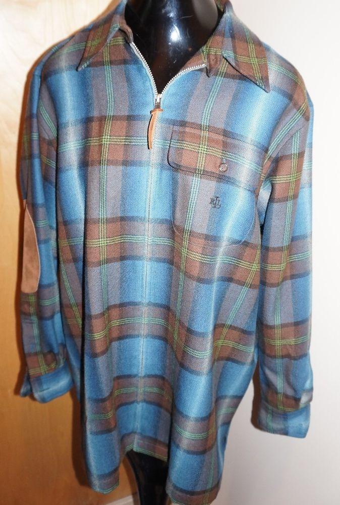 Lauren Ralph Lauren Women Wool Plaid LEATHER Zip Front Jacket Teal BLUE SMALL #LaurenRalphLauren #BasicJacket