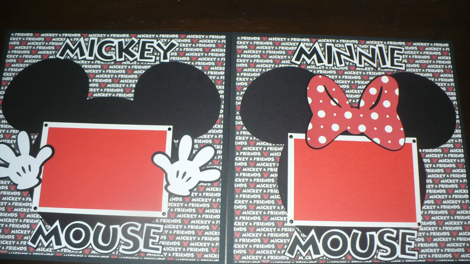 Disney Mickey Mouse Minnie Mouse Premade Layout Scrapbook Pages 12x12 | eBay