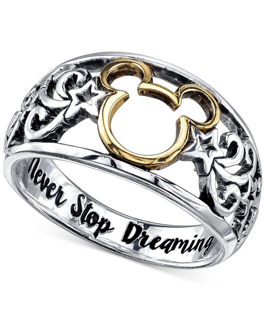 disney open work mickey mouse ring in sterling silver and 14k gold plating - Mickey Mouse Wedding Ring
