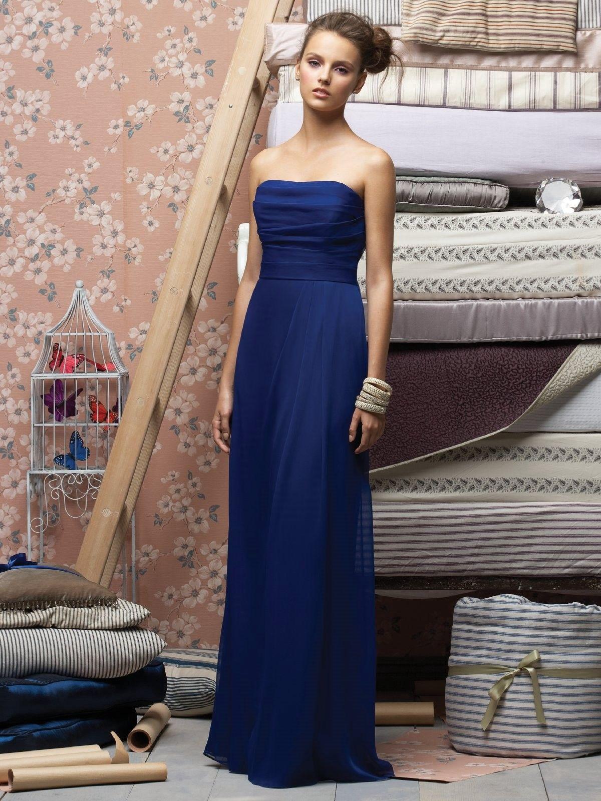 Chiffon Strapless Pleated bodic Formal Long Dress