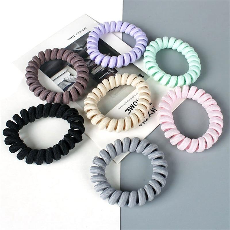 1 Set Elastic Spiral Coil Hair Ties Ponytail Holders Phone Cord Hair Ring Ropes