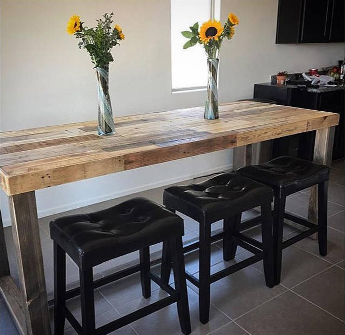Reclaimed Wood Bar Table Restaurant Counter Community Communal Rustic Cafe Conference Office Pub High Top Long Thin Caster Wheels Power Usb In 2020 Bar Dining Table Reclaimed Wood Bars Wood Bar Table