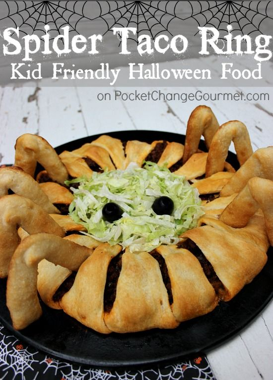 Halloween Food for Kids Spider Taco Ring Recipe Halloween foods - halloween office ideas