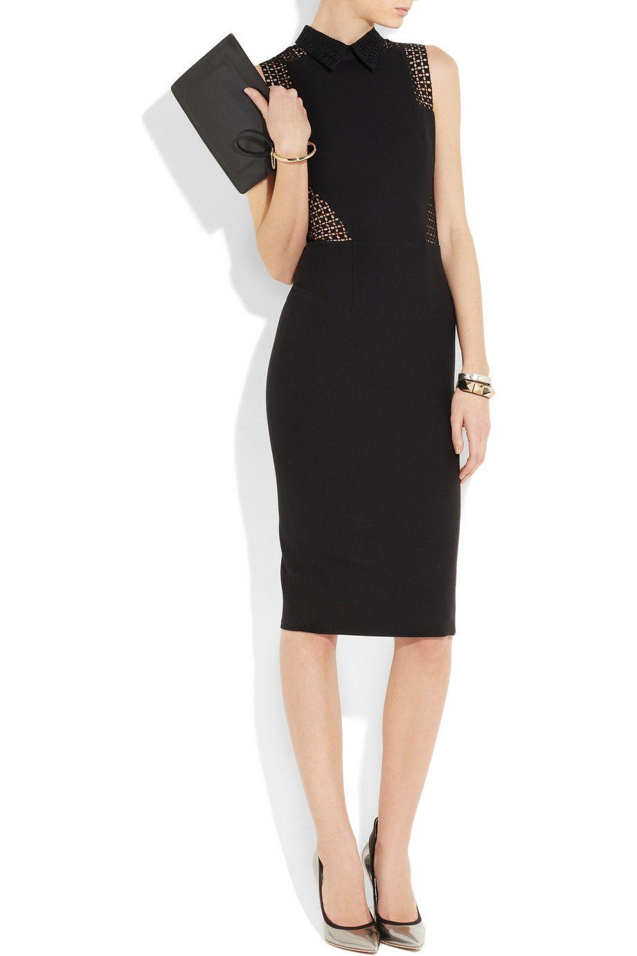 Victoria Beckham Black Broderie Anglaise Paneled Silk And Wool Blend Dress Dresses Little Black Dress Fashion [ 1380 x 920 Pixel ]