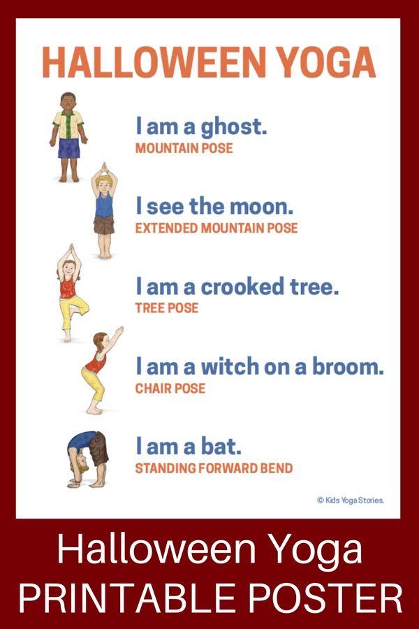 10 Halloween Yoga Poses for Kids (Printable Poster) | Yoga und Ideen