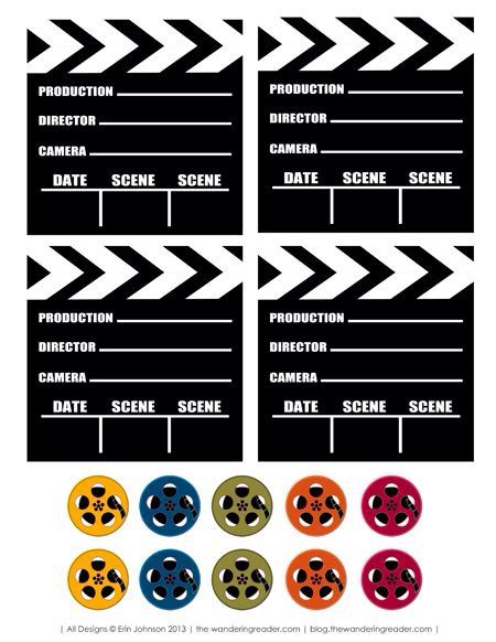 free film inspired movie night party printables use to label candygift bags