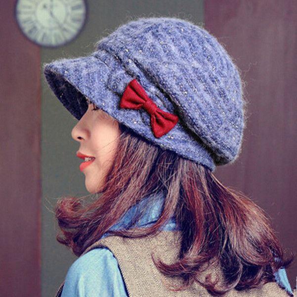 47981817780 Double bow beret hat for women winter wool hats