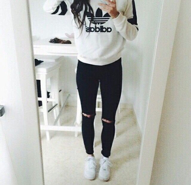 Fashion - Ripped Denim Jeans White Black adidas Shirt* Hoodie/Jacket and  Superstars