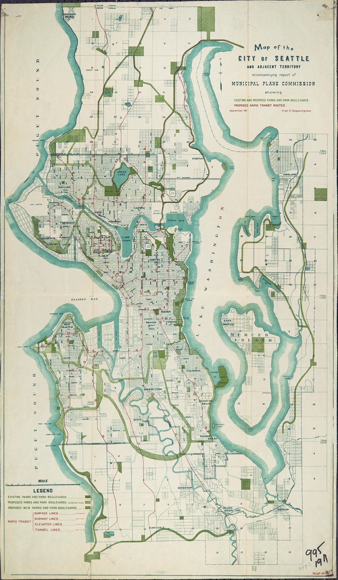 New York City Subway Map 191.Historical Map The Bogue Plan For Seattle 1911 Transit Maps In