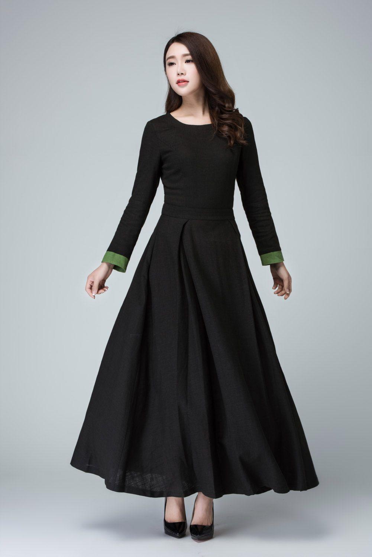 Long Sleeve Maxi dress in Black Linen dress Women's | Etsy ...