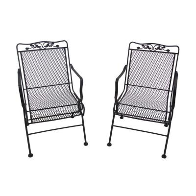 Arlington House Glenbrook Black Patio Action Chair 2 Pack