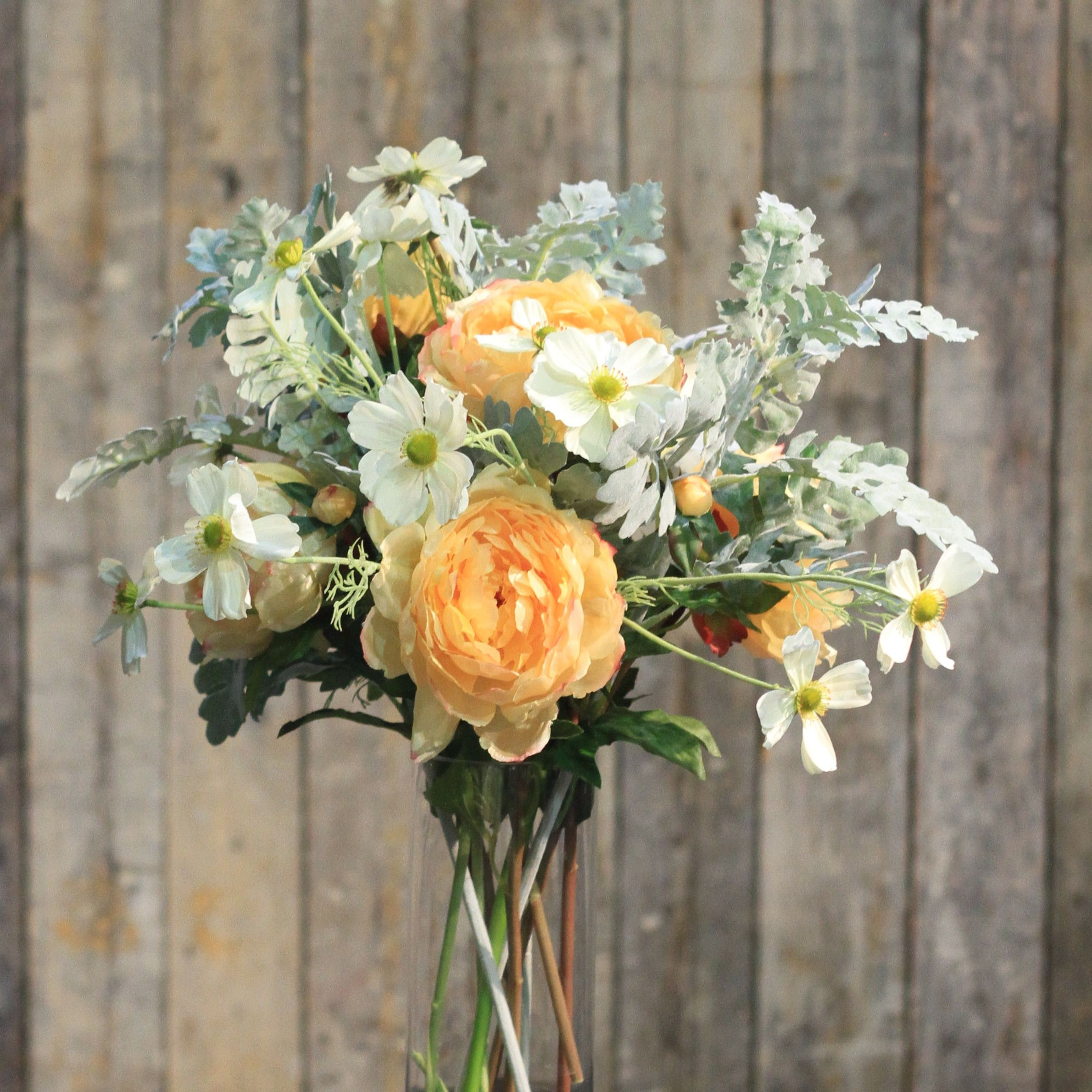 Peach Classic Peony Bunch Of 6 Stems Artificial Peonies Faux
