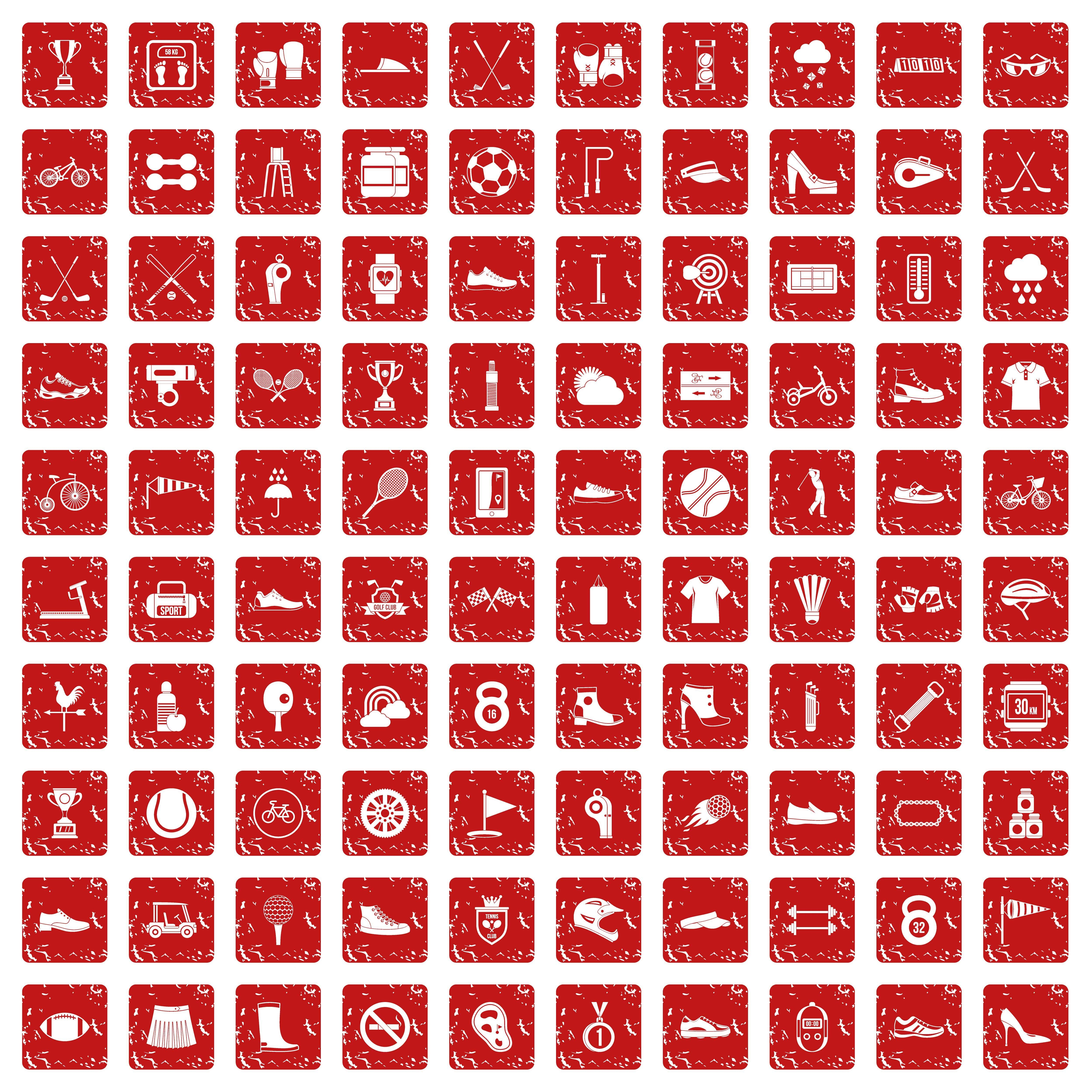 100 sneakers icons set grunge red By Ylivdesign