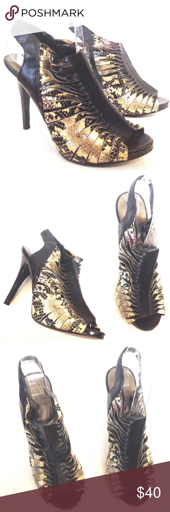 9ffd6f3548 CARLOS TWISTED SNAKE PRINT CUT OUT PEEP ANKLE HEEL CARLOS SANTANA  TWISTED   Great sandals