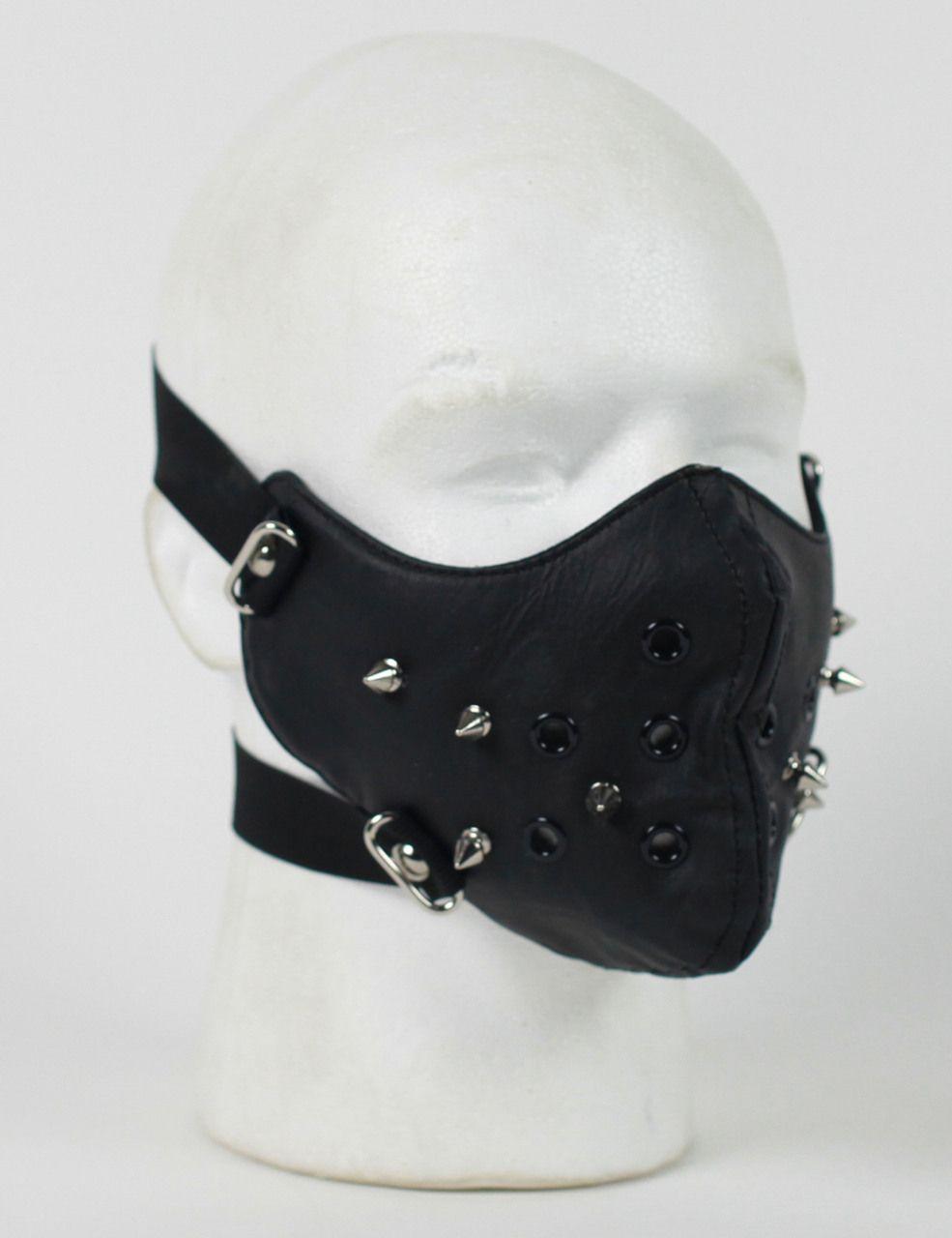 151fcb9e202 Punk Rivet Black Leather Half Face Mask in 2019