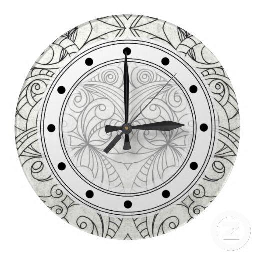 Wall Clock Drawing Floral Abstract Zazzlecom White Wall Clock