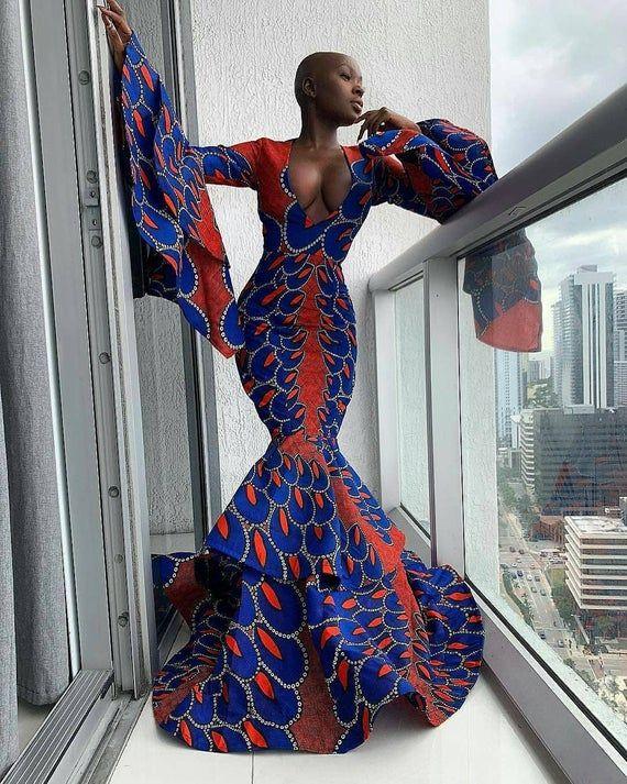 Deep V neckprom wedding dress,African clothing for