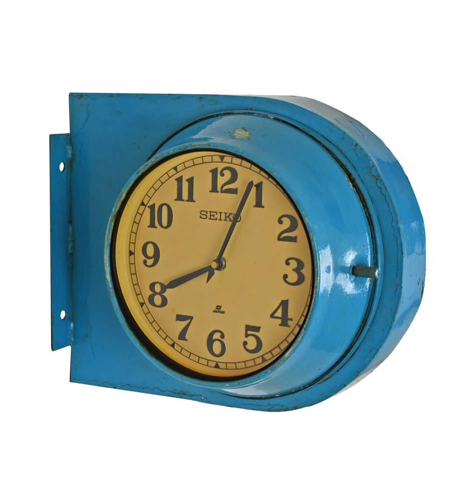 Blue and Yellow Double Sided Naval Clock | Clocks