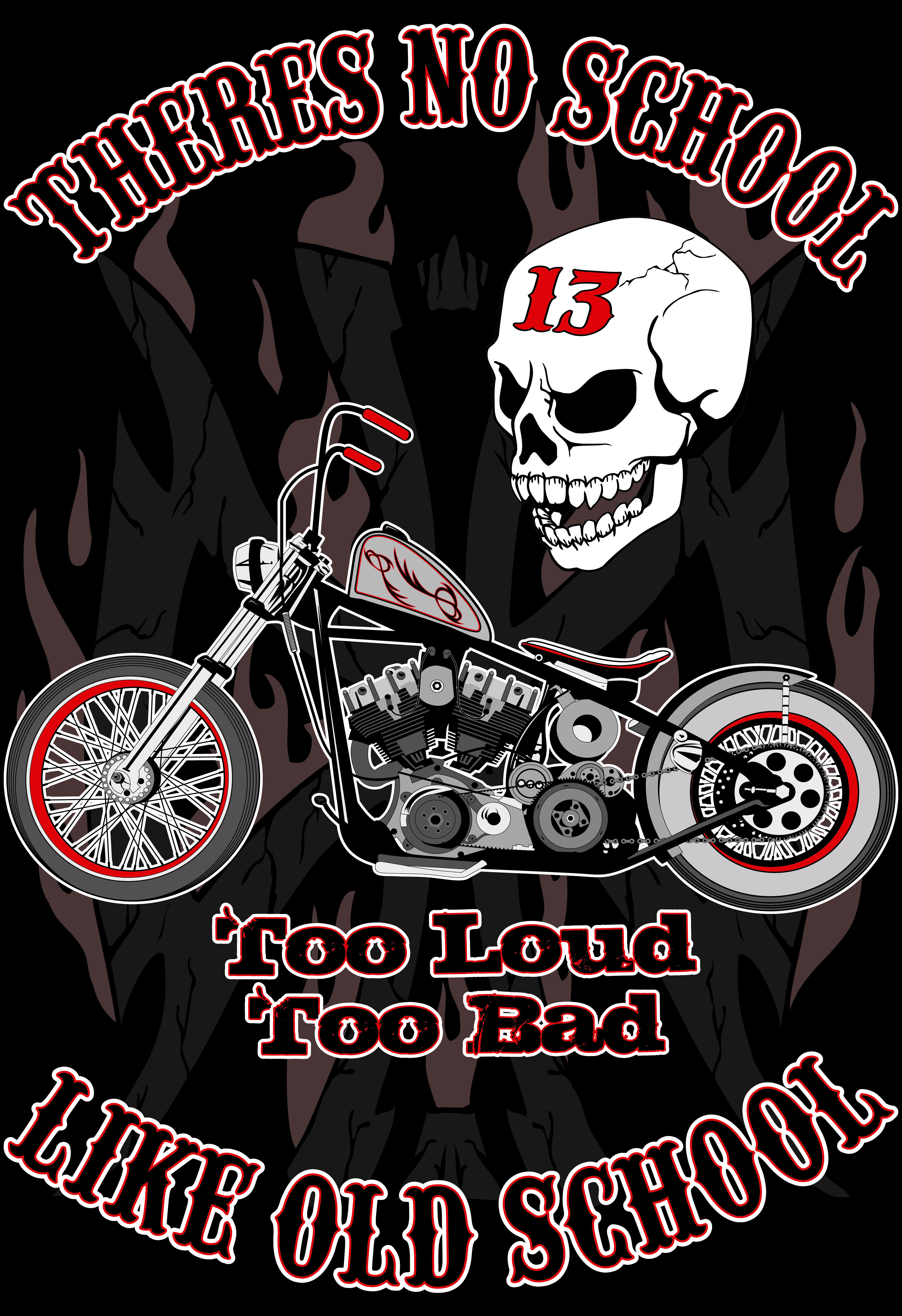 No School Like Old School Biker art, Motorcycle art