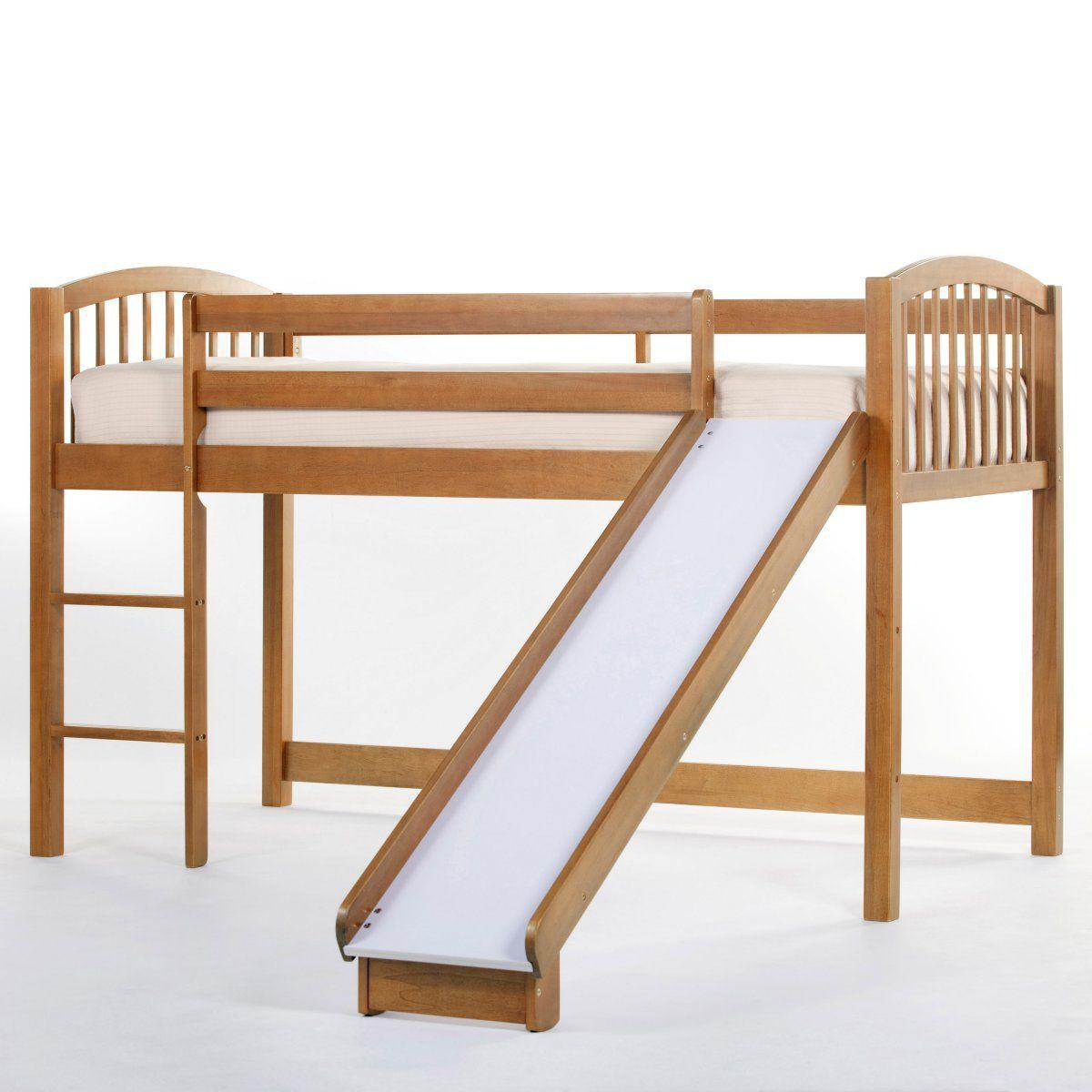Slide for loft bed  Schoolhouse Junior Loft with Slide  Pecan  Loft Beds at Simply