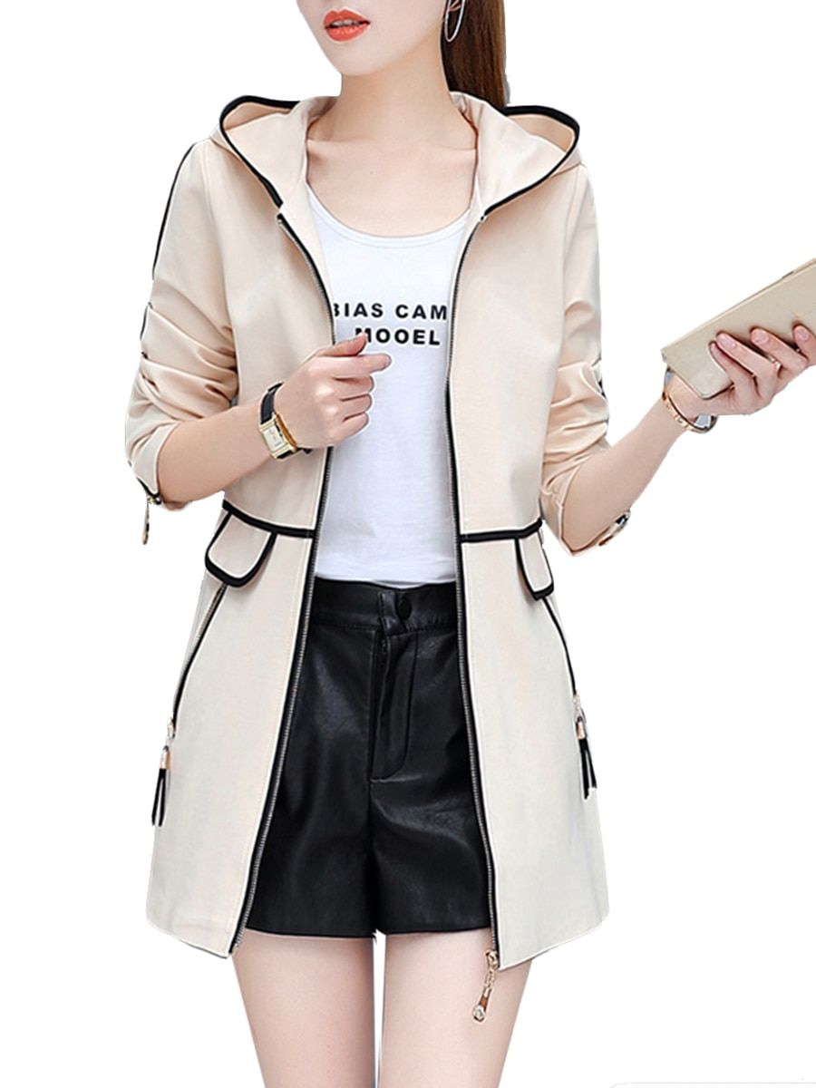 5047ffb4b49 Buy Women s Trench Coat Plus Size Patchwork Color Block Zipper Decor Hooded  Coat   Trench Coats - at Jolly Chic