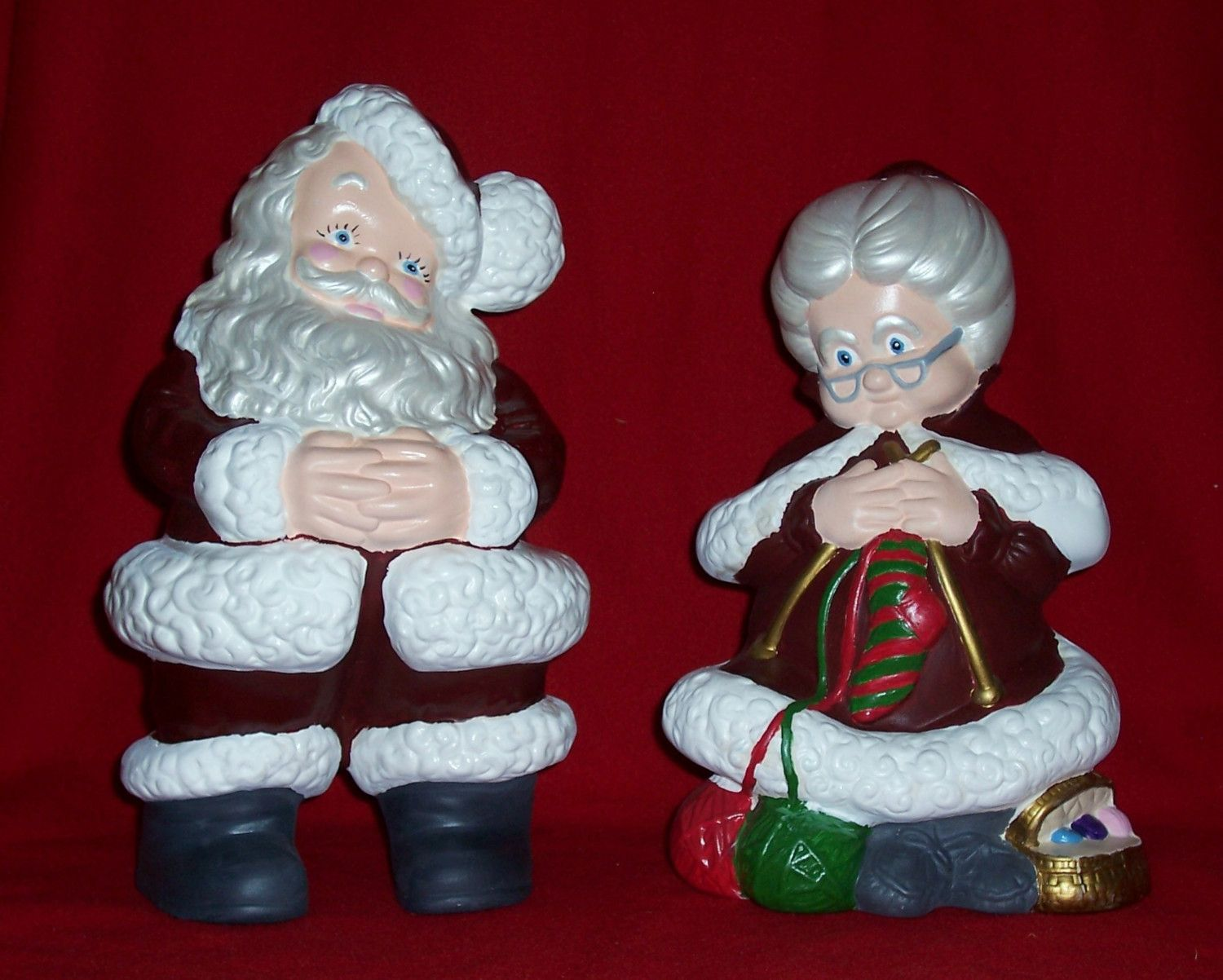 Mr And Mrs Santa Claus Ceramic Bisque I Made A Few Sets Of These For Gifts Back In The Day Still Have Mine Christmas Art Painted Gourds Hand Painted Ceramics