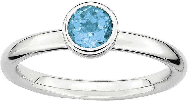 Fine Jewelry Personally Stackable Sterling Silver Genuine Blue Topaz Ring KXD2Z