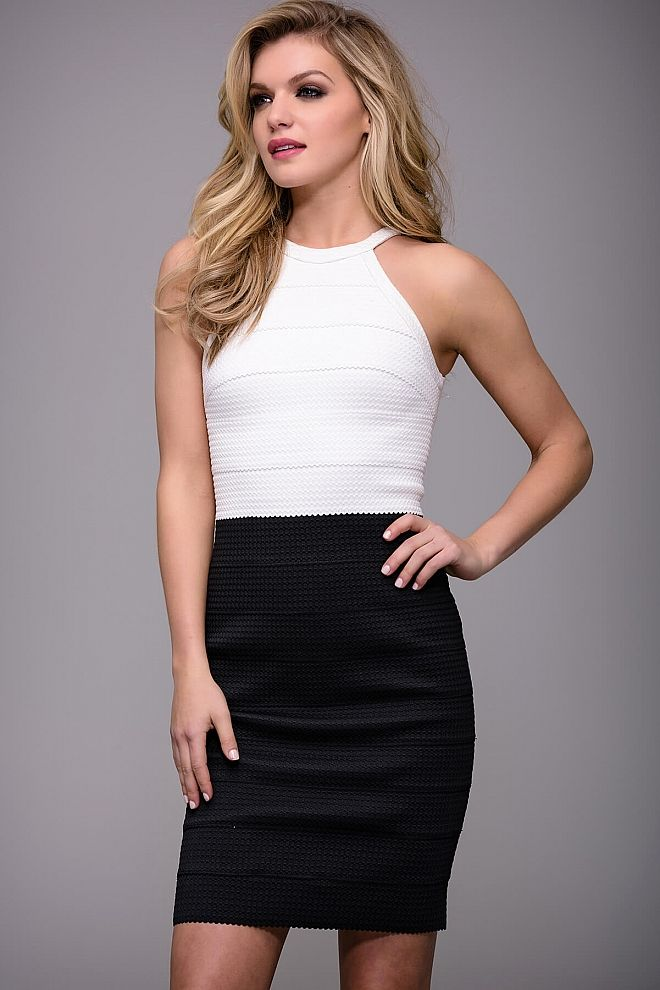 Black and White Sleeveless Ready to Wear Bandage Dress by Jovani M51931 70a26f2d1