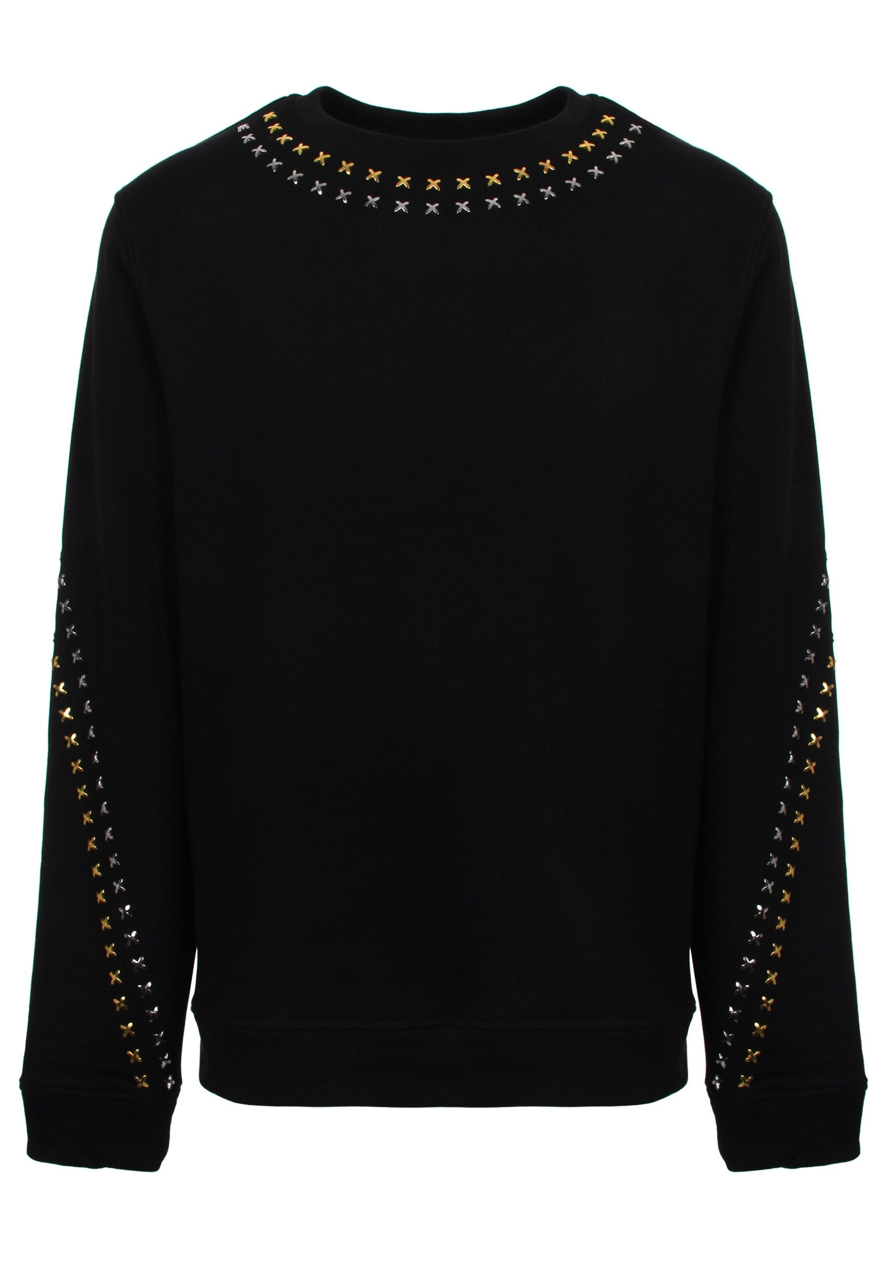 Cross Embellished Collection In Versace Silver Classic Collection's With Black Sweatshirt Studded Is 54nnZqz